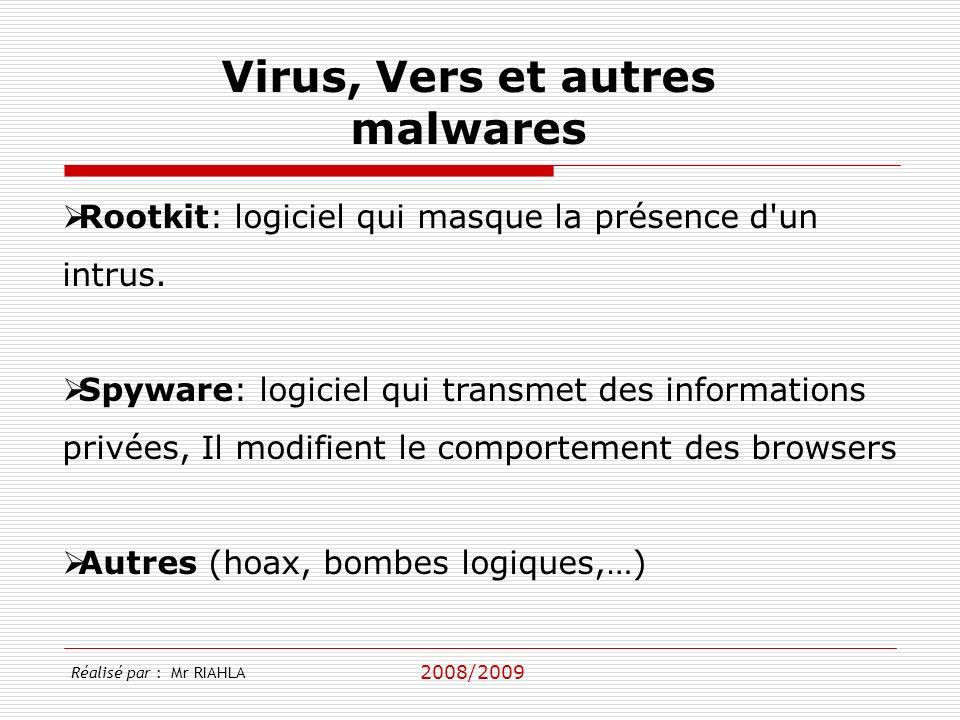 2008/2009 Rootkit: logiciel qui masque la présence d'un intrus. Spyware: logiciel qui transmet des informations privées, Il modifient le comportement