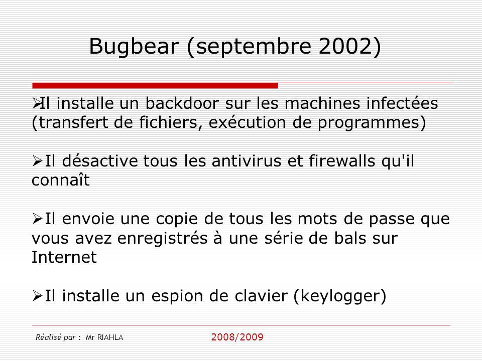 2008/2009 Il installe un backdoor sur les machines infectées (transfert de fichiers, exécution de programmes) Il désactive tous les antivirus et firewalls qu il connaît Il envoie une copie de tous les mots de passe que vous avez enregistrés à une série de bals sur Internet Il installe un espion de clavier (keylogger) Bugbear (septembre 2002) Réalisé par : Mr RIAHLA