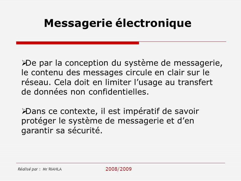 2008/2009 Messagerie électronique De par la conception du système de messagerie, le contenu des messages circule en clair sur le réseau. Cela doit en