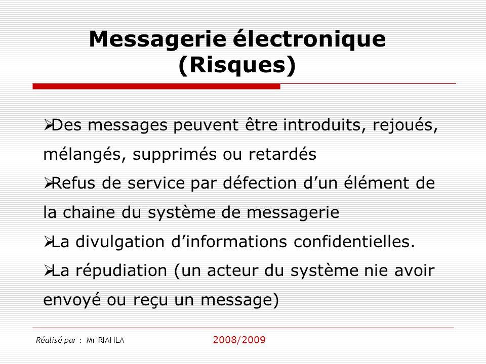 2008/2009 Messagerie électronique (Risques) Des messages peuvent être introduits, rejoués, mélangés, supprimés ou retardés Refus de service par défection dun élément de la chaine du système de messagerie La divulgation dinformations confidentielles.