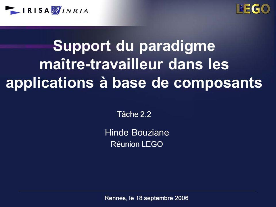 Rennes, le 18 septembre 2006 Support du paradigme maître-travailleur dans les applications à base de composants Tâche 2.2 Hinde Bouziane Réunion LEGO