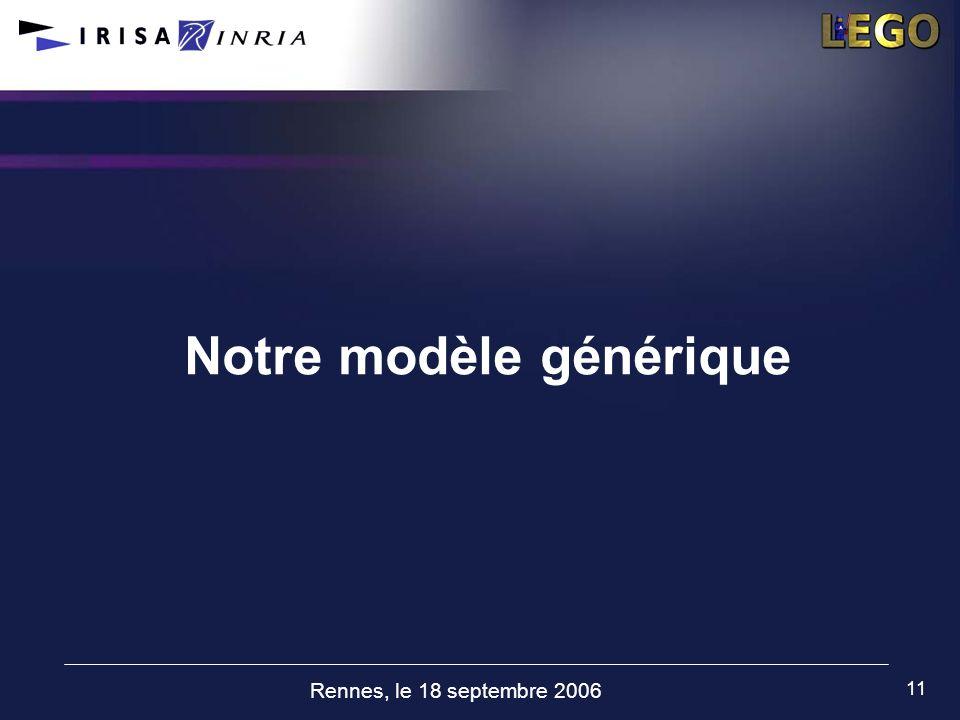 Rennes, le 18 septembre 2006 11 Notre modèle générique