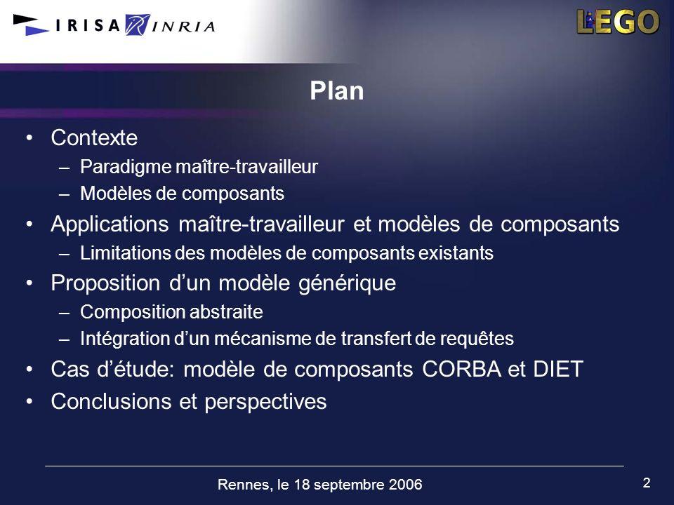 Rennes, le 18 septembre 2006 2 Plan Contexte –Paradigme maître-travailleur –Modèles de composants Applications maître-travailleur et modèles de compos