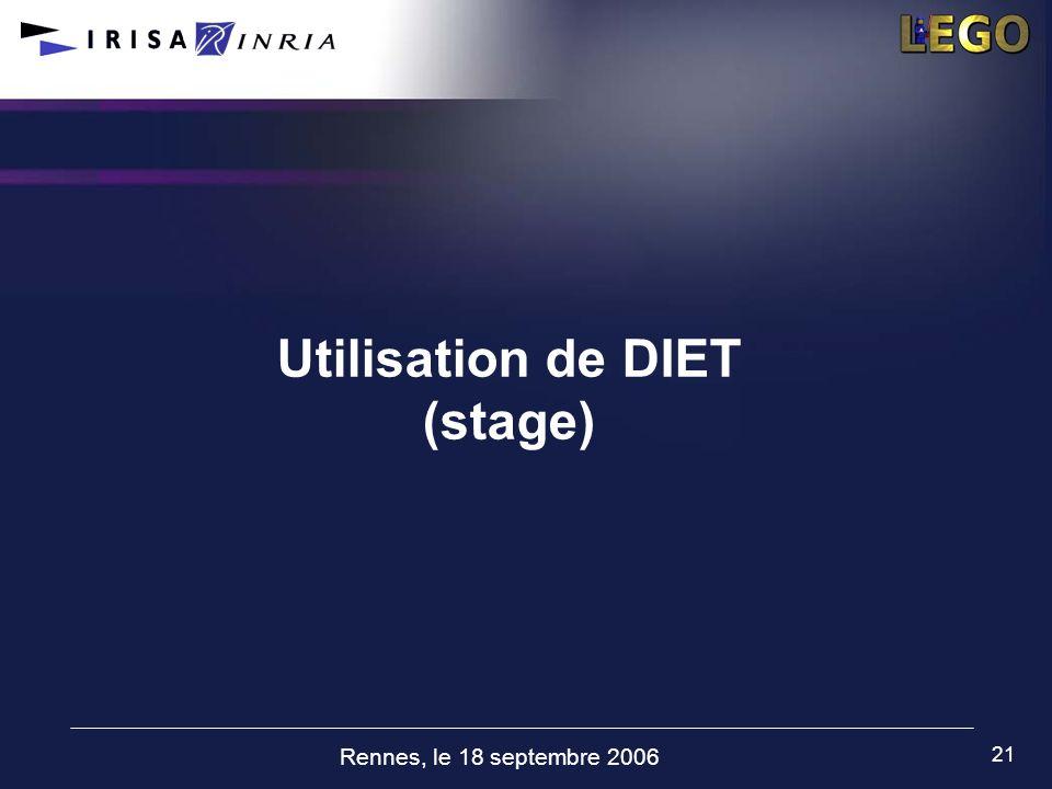Rennes, le 18 septembre 2006 21 Utilisation de DIET (stage)