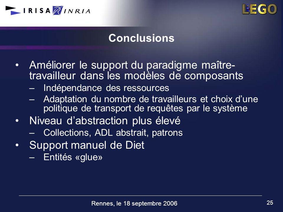 Rennes, le 18 septembre 2006 25 Conclusions Améliorer le support du paradigme maître- travailleur dans les modèles de composants –Indépendance des res