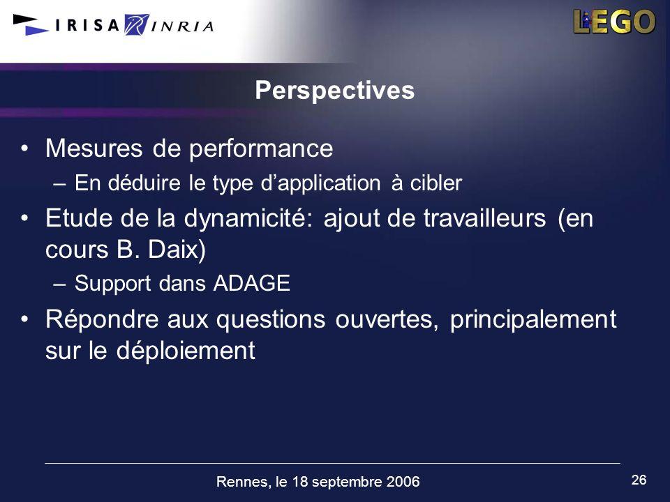 Rennes, le 18 septembre 2006 26 Perspectives Mesures de performance –En déduire le type dapplication à cibler Etude de la dynamicité: ajout de travail