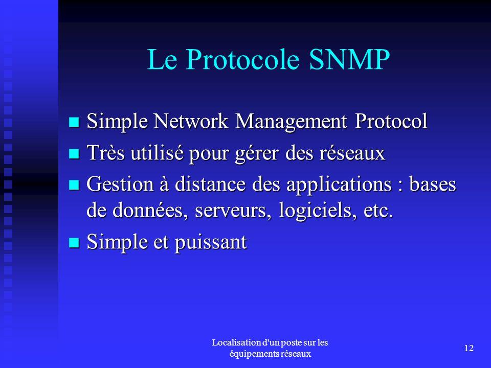 Localisation d un poste sur les équipements réseaux 12 Le Protocole SNMP Simple Network Management Protocol Simple Network Management Protocol Très utilisé pour gérer des réseaux Très utilisé pour gérer des réseaux Gestion à distance des applications : bases de données, serveurs, logiciels, etc.