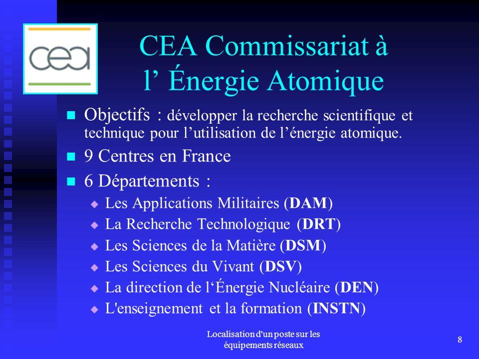 Localisation d un poste sur les équipements réseaux 8 CEA Commissariat à l Énergie Atomique Objectifs : développer la recherche scientifique et technique pour lutilisation de lénergie atomique.