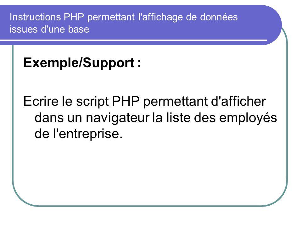 Instructions PHP permettant l affichage de données issues d une base Exemple/Support : Ecrire le script PHP permettant d afficher dans un navigateur la liste des employés de l entreprise.