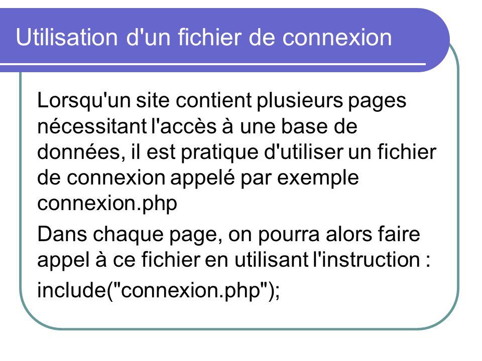 Utilisation d un fichier de connexion Lorsqu un site contient plusieurs pages nécessitant l accès à une base de données, il est pratique d utiliser un fichier de connexion appelé par exemple connexion.php Dans chaque page, on pourra alors faire appel à ce fichier en utilisant l instruction : include( connexion.php );