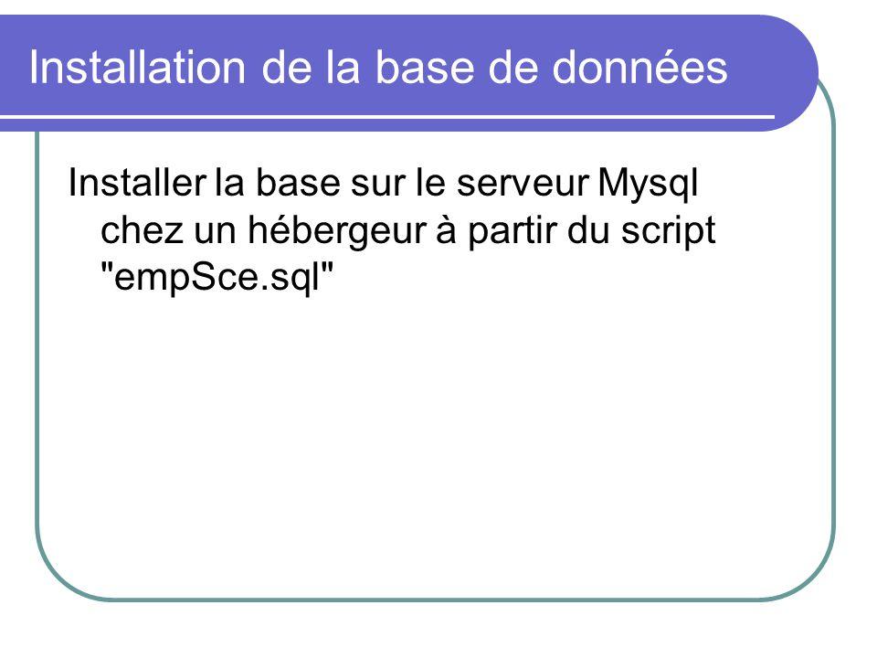Installation de la base de données Installer la base sur le serveur Mysql chez un hébergeur à partir du script empSce.sql