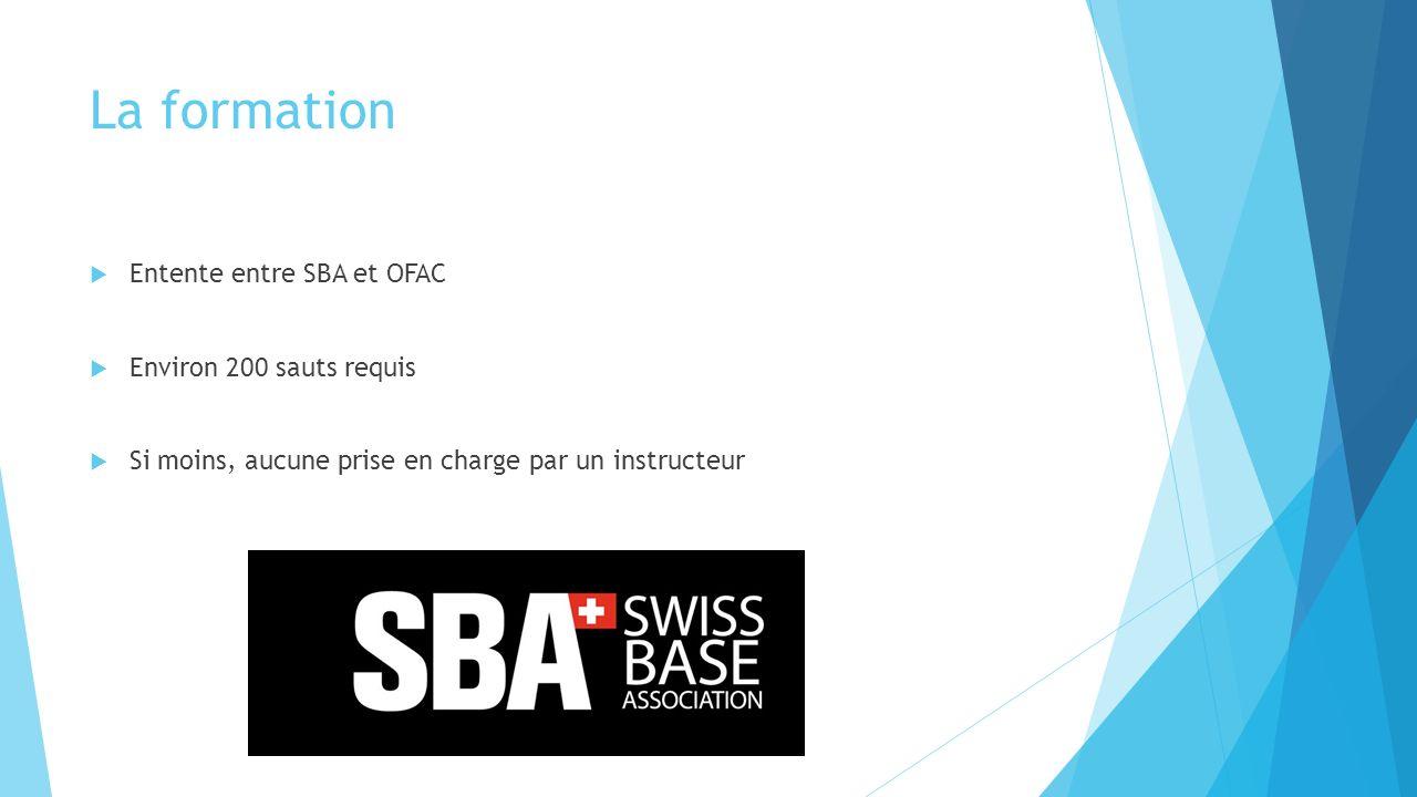 La formation Entente entre SBA et OFAC Environ 200 sauts requis Si moins, aucune prise en charge par un instructeur