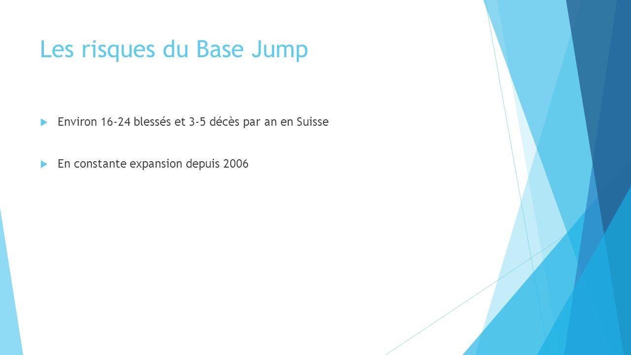Les risques du Base Jump Environ 16-24 blessés et 3-5 décès par an en Suisse En constante expansion depuis 2006