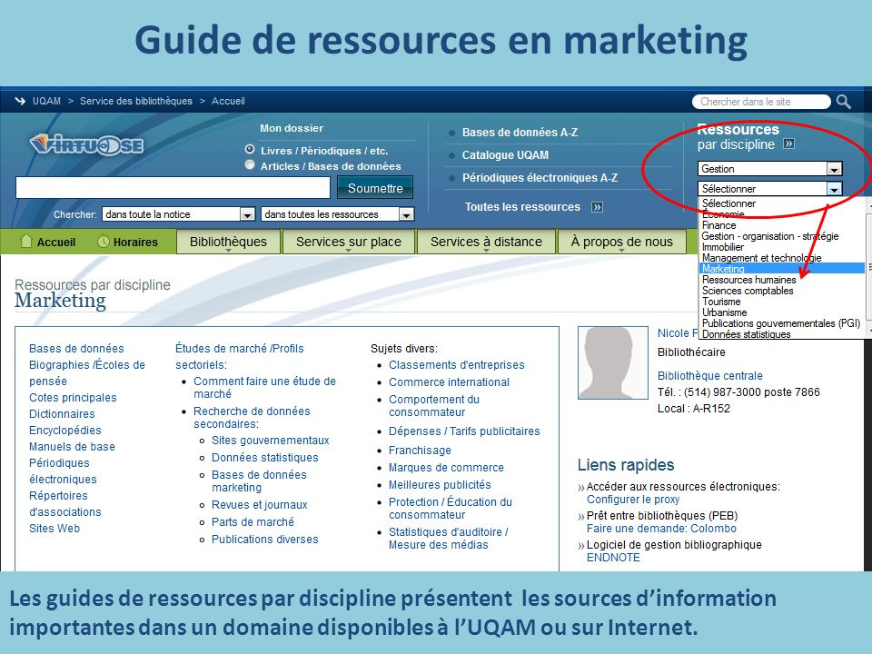 Guide de ressources en marketing Les guides de ressources par discipline présentent les sources dinformation importantes dans un domaine disponibles à lUQAM ou sur Internet.