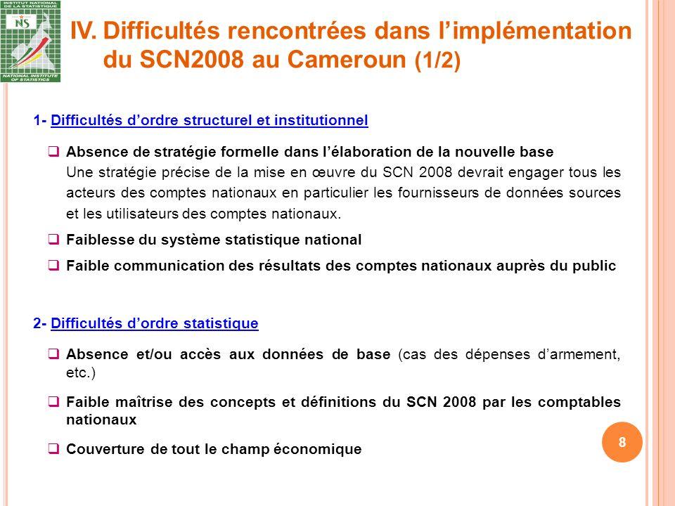 IV. 8 1- Difficultés dordre structurel et institutionnel Absence de stratégie formelle dans lélaboration de la nouvelle base Une stratégie précise de