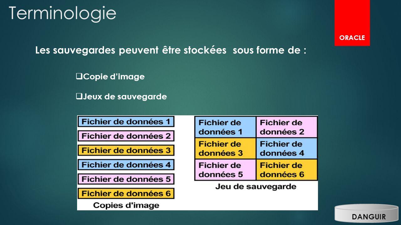 DANGUIR Terminologie Les sauvegardes peuvent être stockées sous forme de : Copie dimage Jeux de sauvegarde