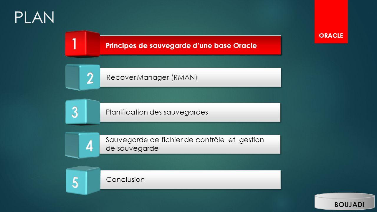 PLAN ORACLE Planification des sauvegardes Sauvegarde de fichier de contrôle et gestion de sauvegarde Conclusion Principes de sauvegarde dune base Orac