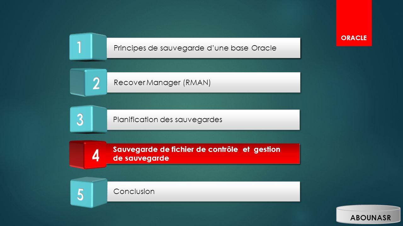 ORACLE Planification des sauvegardes Sauvegarde de fichier de contrôle et gestion de sauvegarde Conclusion Principes de sauvegarde dune base Oracle Re