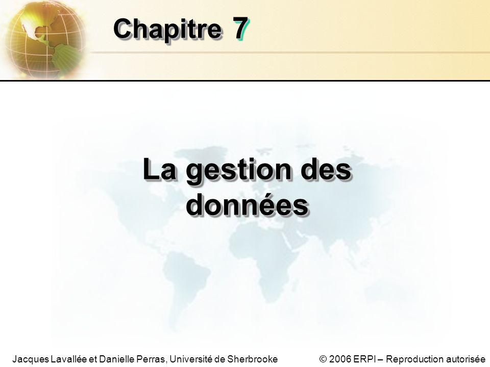 © 2006 ERPI – Reproduction autoriséeJacques Lavallée et Danielle Perras, Université de Sherbrooke 77 ChapitreChapitre La gestion des données