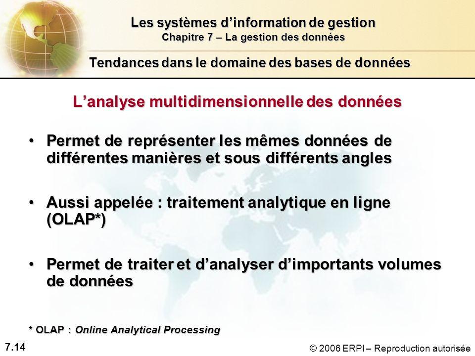 7.14 Les systèmes dinformation de gestion Chapitre 7 – La gestion des données © 2006 ERPI – Reproduction autorisée Tendances dans le domaine des bases de données Lanalyse multidimensionnelle des données Permet de représenter les mêmes données de différentes manières et sous différents anglesPermet de représenter les mêmes données de différentes manières et sous différents angles Aussi appelée : traitement analytique en ligne (OLAP*)Aussi appelée : traitement analytique en ligne (OLAP*) Permet de traiter et danalyser dimportants volumes de donnéesPermet de traiter et danalyser dimportants volumes de données * OLAP : Online Analytical Processing