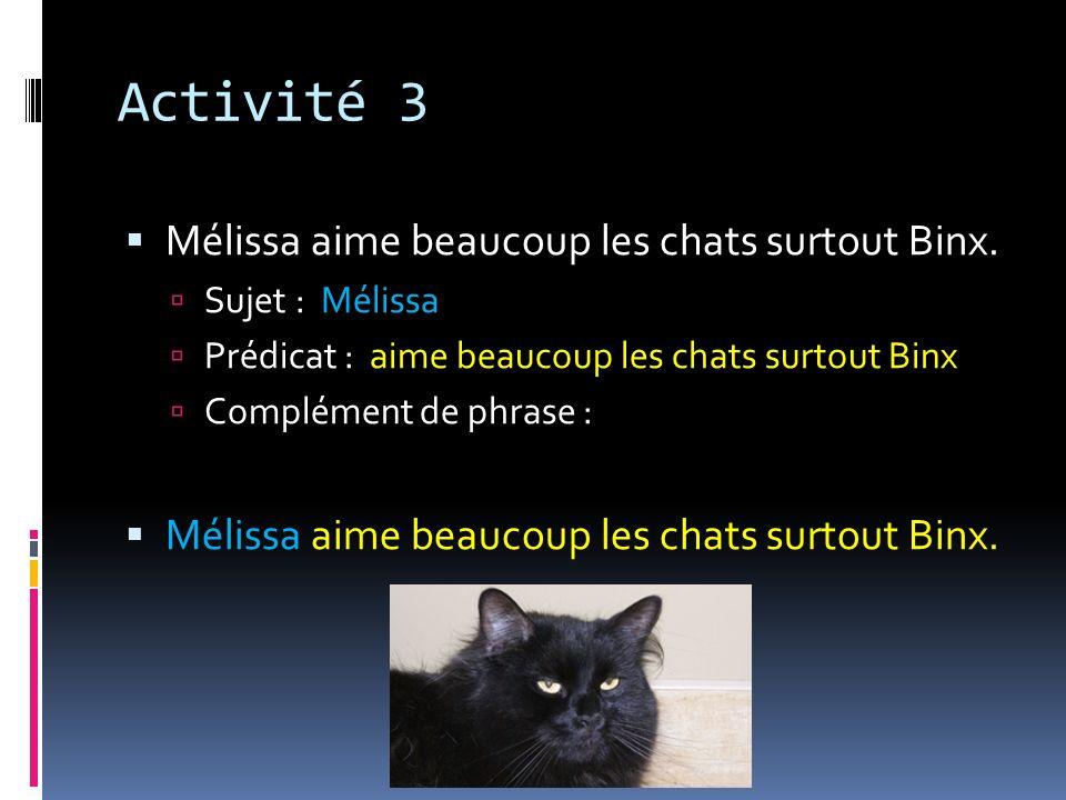 Activité 3 Mélissa aime beaucoup les chats surtout Binx. Sujet : Mélissa Prédicat : aime beaucoup les chats surtout Binx Complément de phrase : Méliss