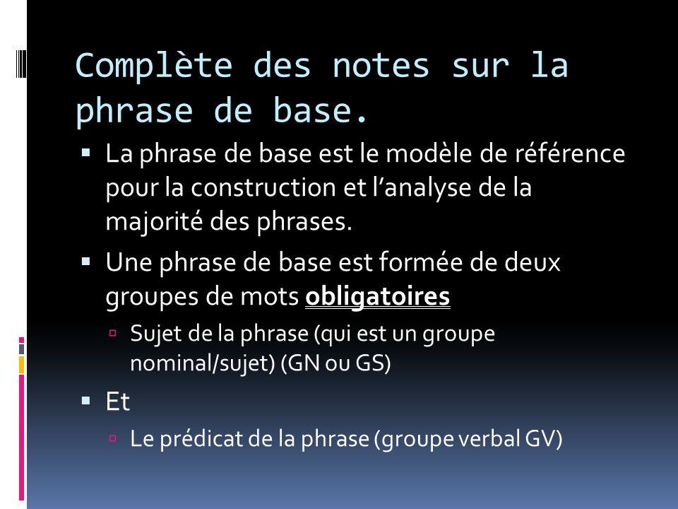 Complète des notes sur la phrase de base. La phrase de base est le modèle de référence pour la construction et lanalyse de la majorité des phrases. Un