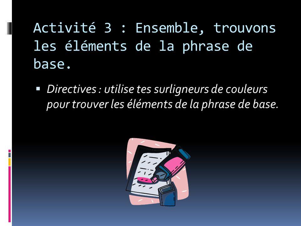 Activité 3 : Ensemble, trouvons les éléments de la phrase de base. Directives : utilise tes surligneurs de couleurs pour trouver les éléments de la ph
