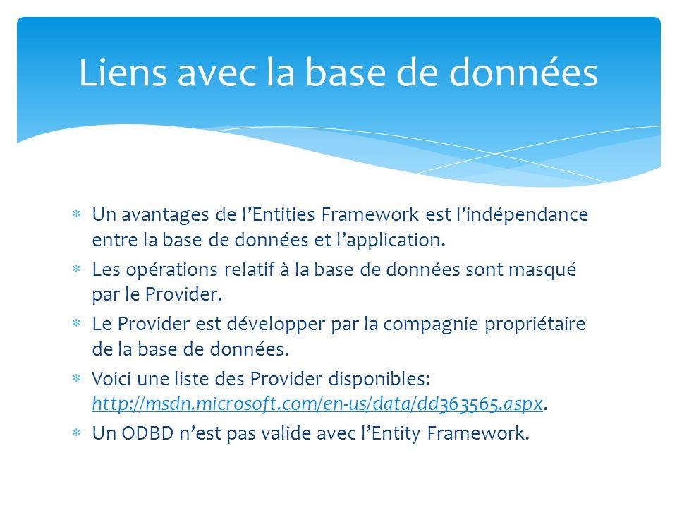 Un avantages de lEntities Framework est lindépendance entre la base de données et lapplication. Les opérations relatif à la base de données sont masqu