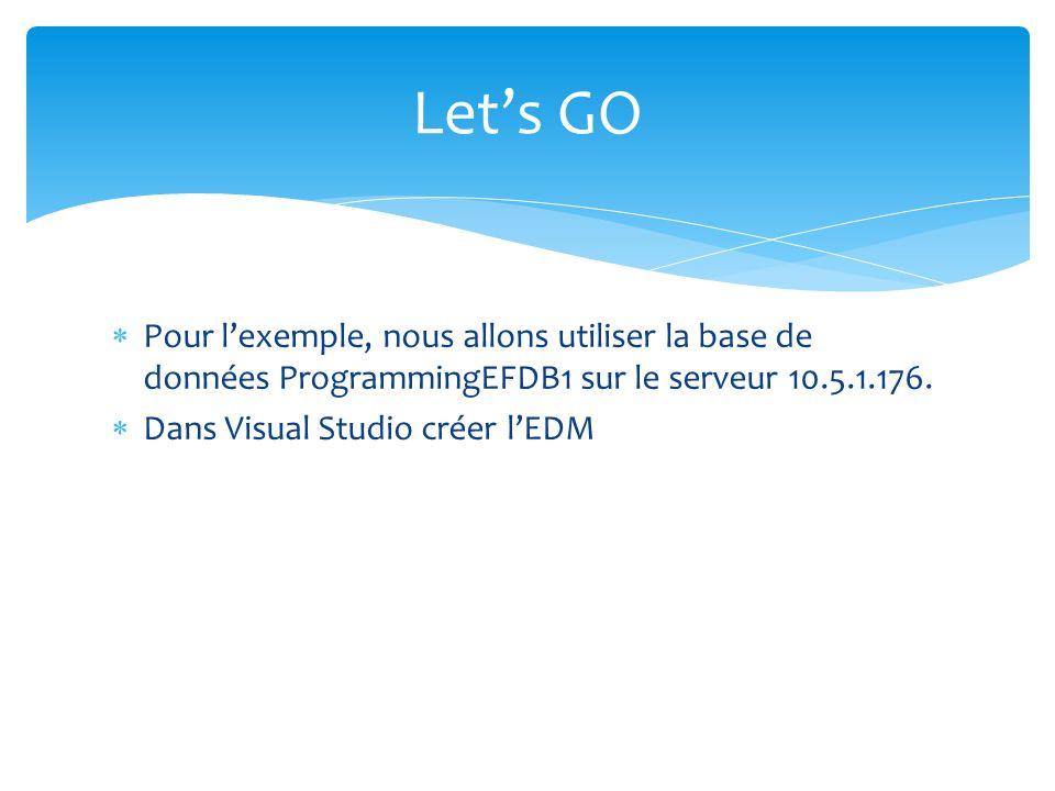Pour lexemple, nous allons utiliser la base de données ProgrammingEFDB1 sur le serveur 10.5.1.176. Dans Visual Studio créer lEDM Lets GO