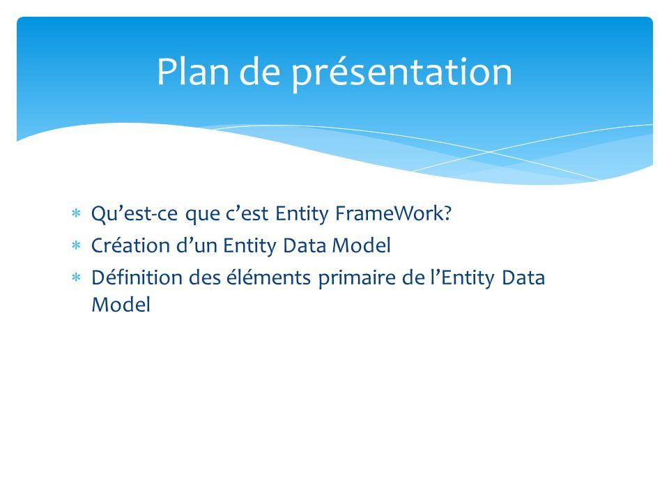 Quest-ce que cest Entity FrameWork? Création dun Entity Data Model Définition des éléments primaire de lEntity Data Model Plan de présentation