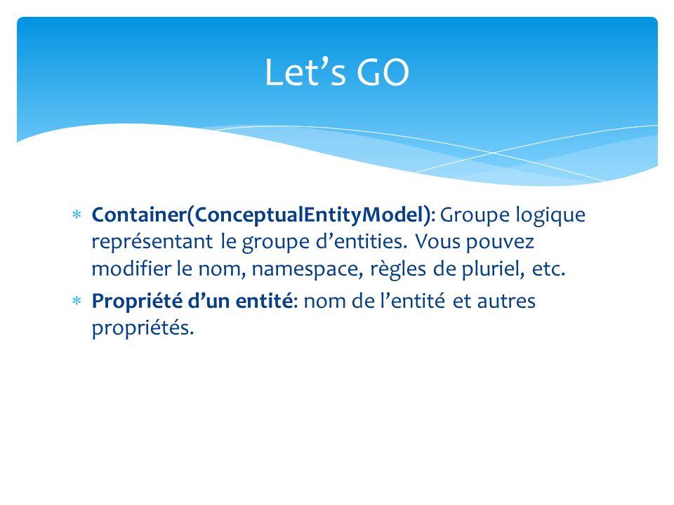 Container(ConceptualEntityModel): Groupe logique représentant le groupe dentities. Vous pouvez modifier le nom, namespace, règles de pluriel, etc. Pro