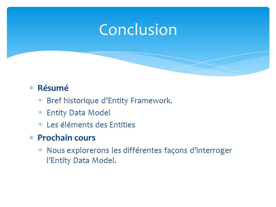 Résumé Bref historique dEntity Framework. Entity Data Model Les éléments des Entities Prochain cours Nous explorerons les différentes façons dinterrog