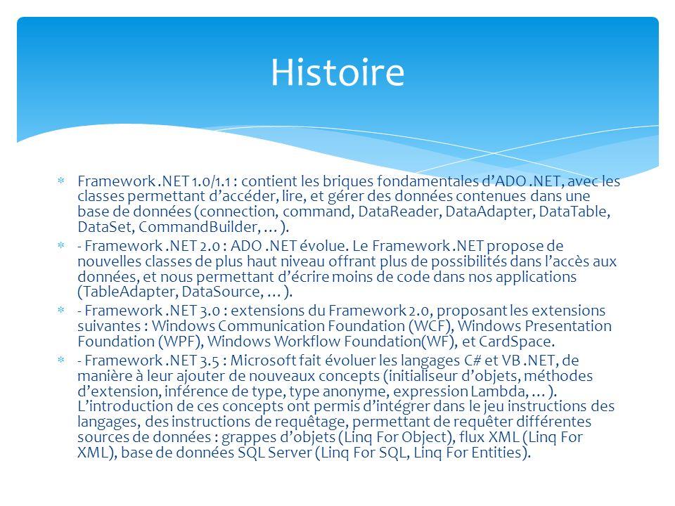 Framework.NET 1.0/1.1 : contient les briques fondamentales dADO.NET, avec les classes permettant daccéder, lire, et gérer des données contenues dans une base de données (connection, command, DataReader, DataAdapter, DataTable, DataSet, CommandBuilder, …).