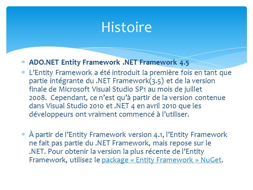 ADO.NET Entity Framework.NET Framework 4.5 LEntity Framework a été introduit la première fois en tant que partie intégrante du.NET Framework(3.5) et d
