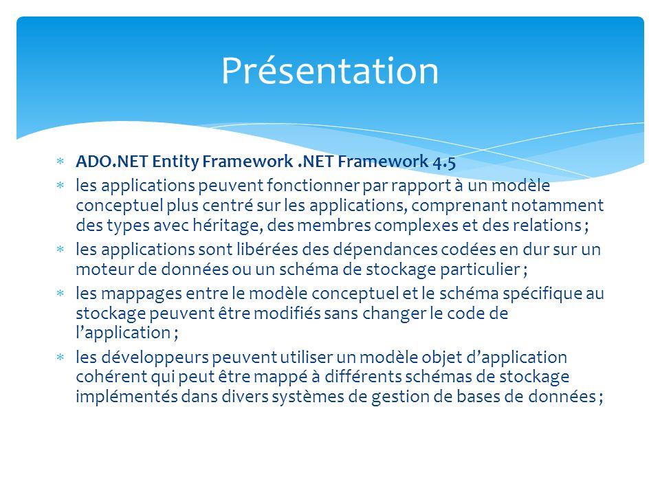 ADO.NET Entity Framework.NET Framework 4.5 les applications peuvent fonctionner par rapport à un modèle conceptuel plus centré sur les applications, comprenant notamment des types avec héritage, des membres complexes et des relations ; les applications sont libérées des dépendances codées en dur sur un moteur de données ou un schéma de stockage particulier ; les mappages entre le modèle conceptuel et le schéma spécifique au stockage peuvent être modifiés sans changer le code de lapplication ; les développeurs peuvent utiliser un modèle objet dapplication cohérent qui peut être mappé à différents schémas de stockage implémentés dans divers systèmes de gestion de bases de données ; Présentation