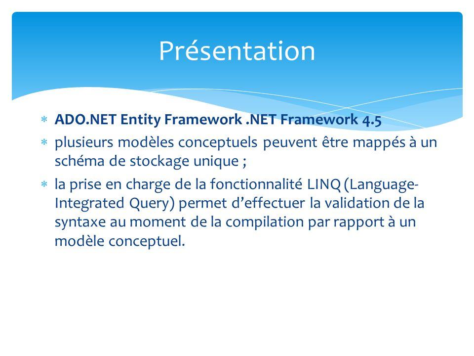 ADO.NET Entity Framework.NET Framework 4.5 plusieurs modèles conceptuels peuvent être mappés à un schéma de stockage unique ; la prise en charge de la