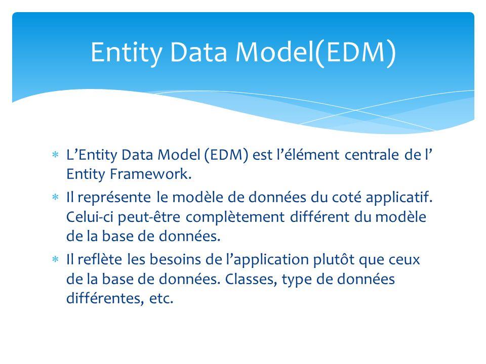 LEntity Data Model (EDM) est lélément centrale de l Entity Framework. Il représente le modèle de données du coté applicatif. Celui-ci peut-être complè
