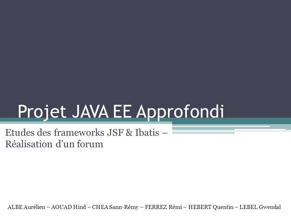 Comparaison JSF-Struts Points forts de Struts: Tag lib pour les vues Paramétrage par des fichiers XML (Emplacement des beans, mapping,…) Pas de servlet mais des Action et des Action Form (Formulaire facilité avec vérification des champs) Paramétrage des langues (messageRessource.properties) Points faibles de Struts: Installation et paramétrage difficile Erreur difficile à trouver (Car séparation des fichiers et des action à effectuer) Points forts de JSF: Utilise les managed bean Contrôle de formulaire facilité Nombreux composants graphiques réutilisable Facilite et standardise le développement dapplications web Mapping HTML/Objet Configuration de la navigation entre les pages Point faible JSF: Maturité: technologie récente qui nécessite l écriture de beaucoup de code Manque de composants évolués en standard: La plupart ont une correspondance directe avec l HTML Dépendance des JSTL/EL