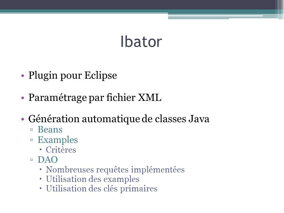 Ibator Plugin pour Eclipse Paramétrage par fichier XML Génération automatique de classes Java Beans Examples Critères DAO Nombreuses requêtes implémen