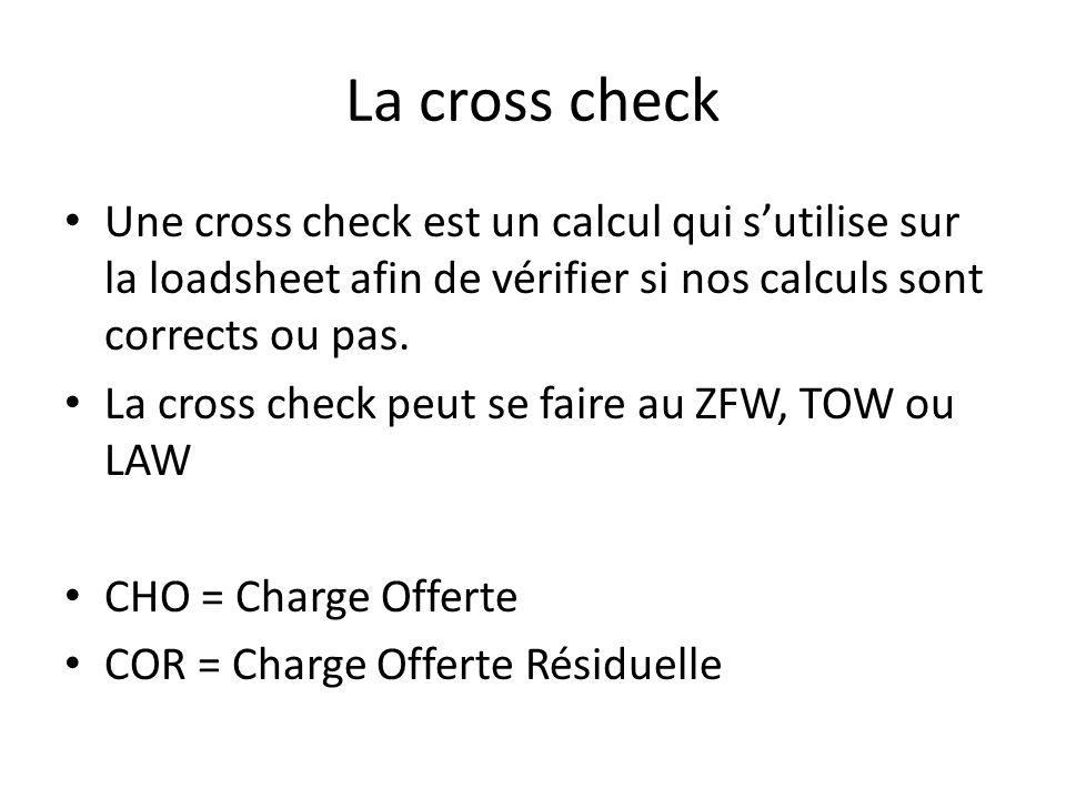 La cross check Une cross check est un calcul qui sutilise sur la loadsheet afin de vérifier si nos calculs sont corrects ou pas.