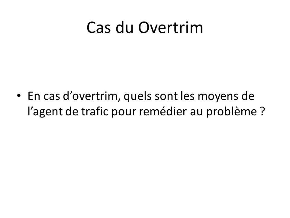 Cas du Overtrim En cas dovertrim, quels sont les moyens de lagent de trafic pour remédier au problème ?