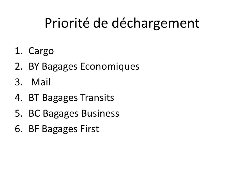 Priorité de déchargement 1.Cargo 2.BY Bagages Economiques 3. Mail 4.BT Bagages Transits 5.BC Bagages Business 6.BF Bagages First