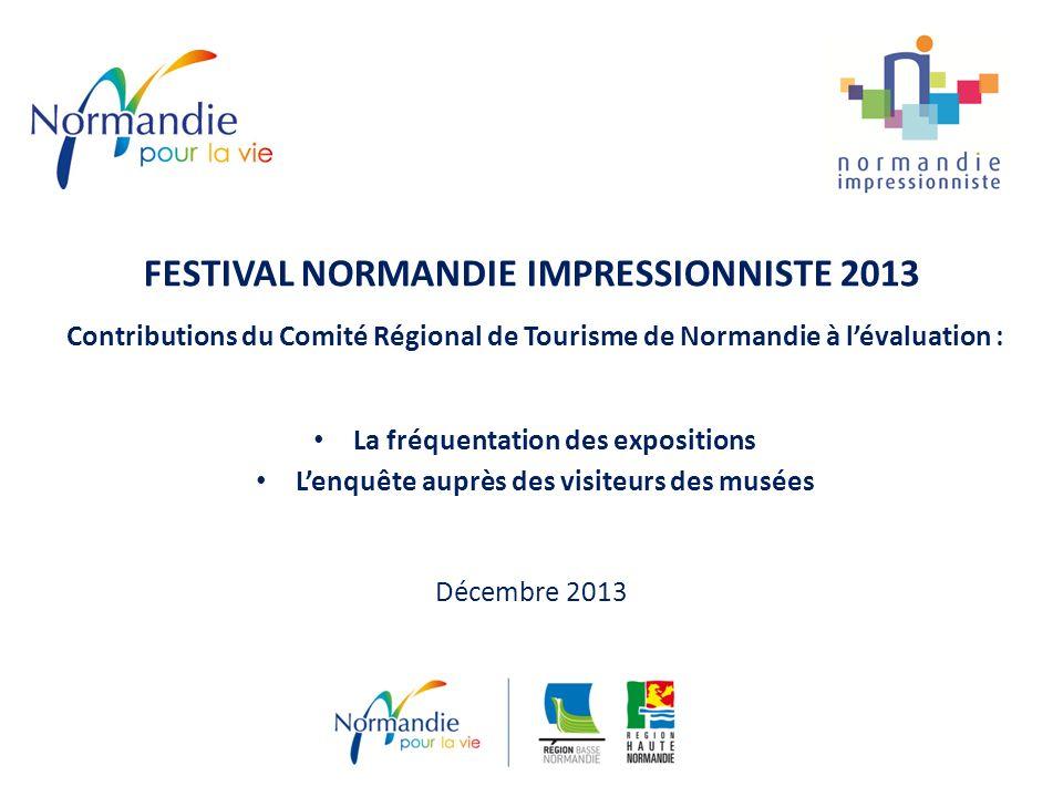 FESTIVAL NORMANDIE IMPRESSIONNISTE 2013 Contributions du Comité Régional de Tourisme de Normandie à lévaluation : La fréquentation des expositions Lenquête auprès des visiteurs des musées Décembre 2013