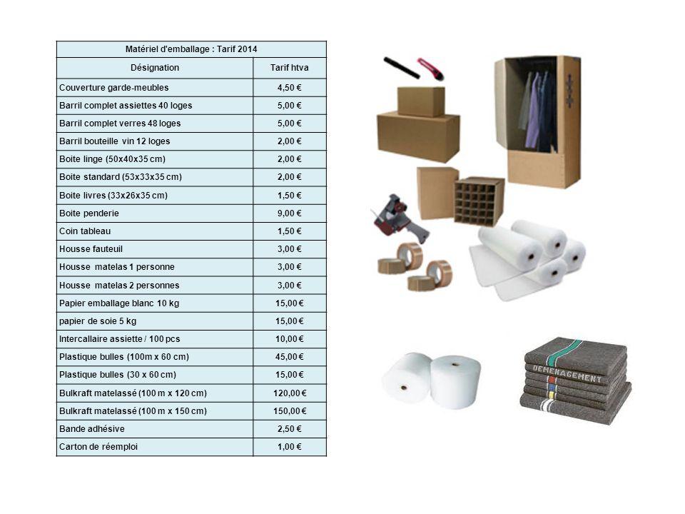 Matériel d'emballage : Tarif 2014 DésignationTarif htva Couverture garde-meubles4,50 Barril complet assiettes 40 loges5,00 Barril complet verres 48 lo