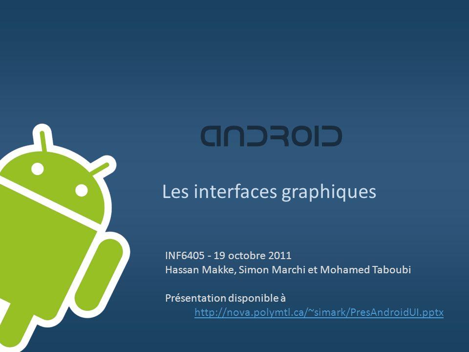 ANDROID Les interfaces graphiques INF6405 - 19 octobre 2011 Hassan Makke, Simon Marchi et Mohamed Taboubi Présentation disponible à http://nova.polymt
