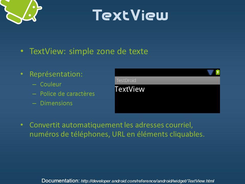 TextView TextView: simple zone de texte Représentation: – Couleur – Police de caractères – Dimensions Convertit automatiquement les adresses courriel,