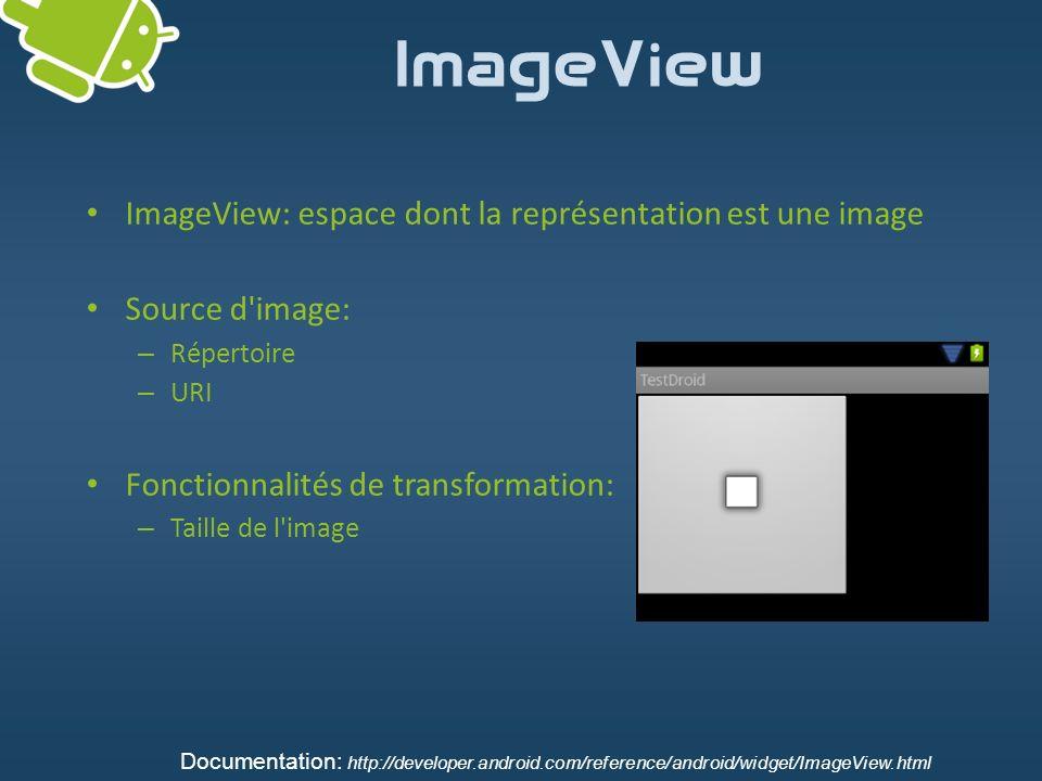 ImageView ImageView: espace dont la représentation est une image Source d'image: – Répertoire – URI Fonctionnalités de transformation: – Taille de l'i