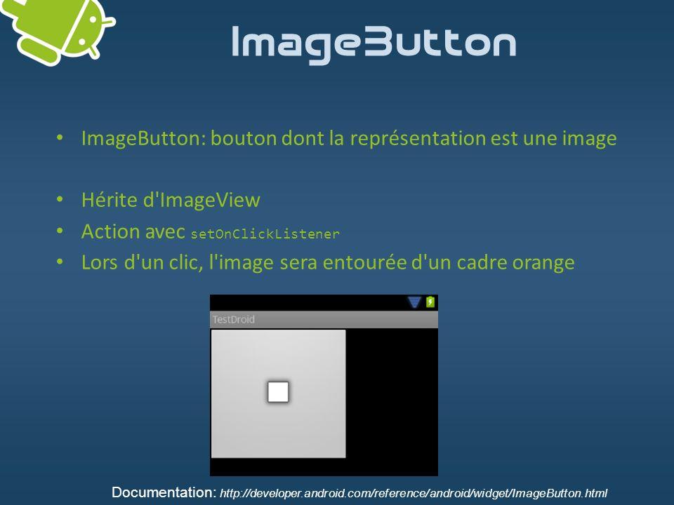 ImageButton ImageButton: bouton dont la représentation est une image Hérite d'ImageView Action avec setOnClickListener Lors d'un clic, l'image sera en