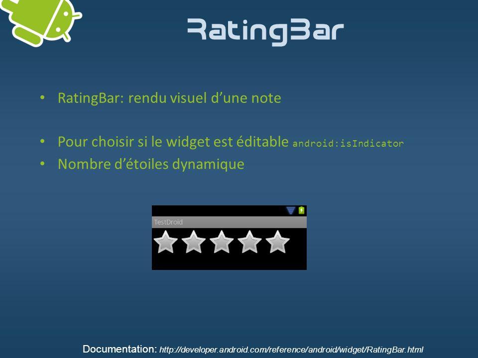 RatingBar RatingBar: rendu visuel dune note Pour choisir si le widget est éditable android:isIndicator Nombre détoiles dynamique Documentation: http:/