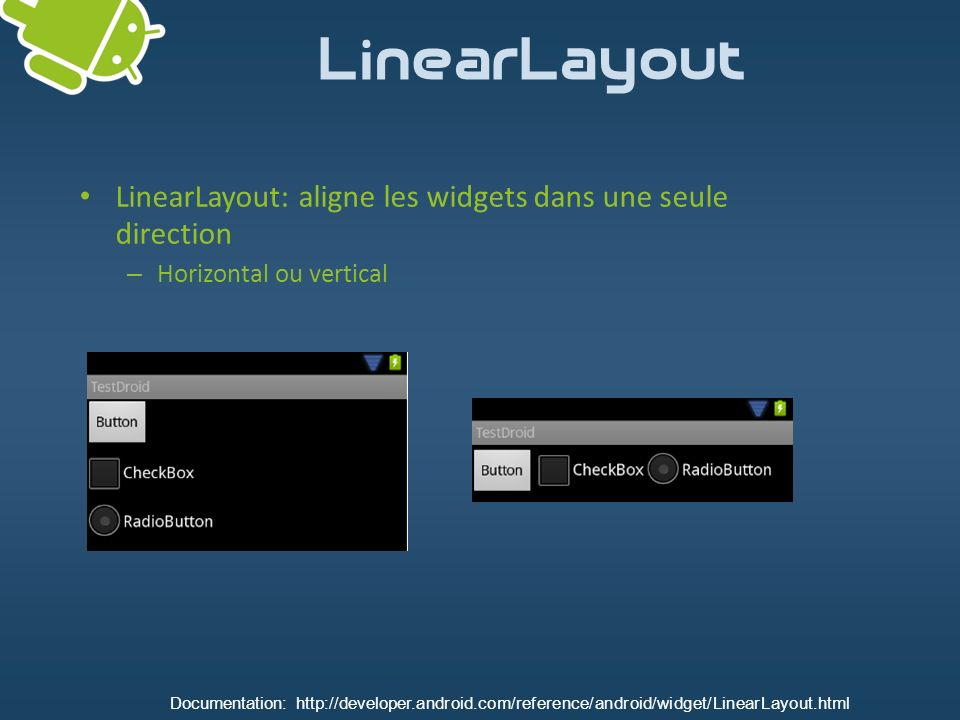 LinearLayout LinearLayout: aligne les widgets dans une seule direction – Horizontal ou vertical Documentation: http://developer.android.com/reference/
